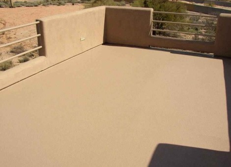 coated and waterproofed deck